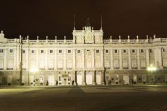 Royal Palace of Madrid, Spain at night Stock Photo