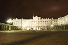 Royal Palace of Madrid, Spain at night Royalty Free Stock Photo