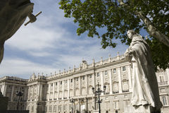 Royal Palace of Madrid view from Oriente Square Stock Photography