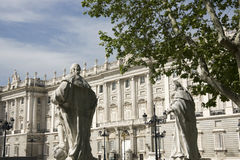 Royal Palace of Madrid view from Oriente Square Royalty Free Stock Photography