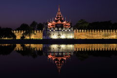 The Royal Palace of Mandalay at night Stock Photos