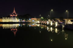The Royal Palace of Mandalay at night Royalty Free Stock Photos