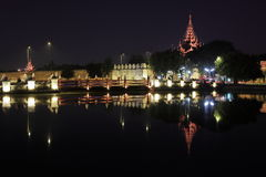 The Royal Palace of Mandalay at night Stock Photography