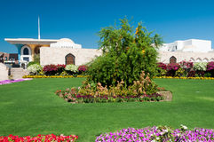 Royal Palace in Muscat - Oman. Flowery garden and Al Alam Royal Palace in Mascate, Oman Royalty Free Stock Photo