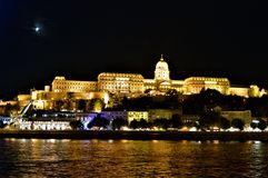 Royal Palace na noite, Budapest Fotografia de Stock