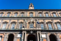Royal Palace of Naples City on Piazza del Plebiscito royalty free stock photos