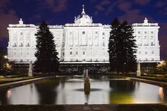 Royal palace at night. Royal residence of the king and queen of Spain at night Stock Image