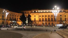 Royal Palace in the night at Bucharest, Romania stock video