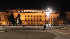Royal Palace in the night at Bucharest, Romania stock video footage