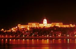 The Royal Palace at night, Budapest, Hungary. The night view of the illuminated Budapest with the Royal Palace makes the Hungarian capital a beautiful Stock Photography