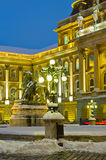 Royal palace at night , Hungary Stock Images