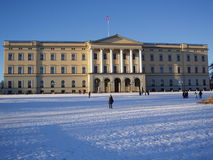 The Royal Palace, Norway. The Roayl Palace of Norway on a winters day. The low sun this time of the year gives long shadows royalty free stock images