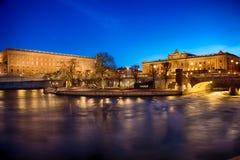 Royal Palace och hus av parlamentet i Stockholm Arkivfoton