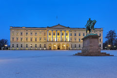 Royal Palace in Oslo in dusk, Norway. Royal Palace and equestrian statue of Karl XIV Johan in Oslo in dusk, Norway Stock Photography