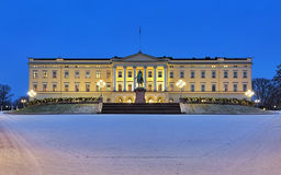 Royal Palace in Oslo in dusk, Norway stock image
