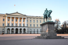 Royal Palace in Oslo. And the Karl III Johan statue Royalty Free Stock Photos