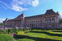The Royal Palace Palais de Bruxelles in center of Brussels, view from Place des Palais. Sunny spring day. Brussels, Belgium.  Royalty Free Stock Photo