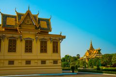 The Royal palace in  Phnom Penh, Cambodia. Beautiful religious Denmark in the capital of Cambodia.The Royal palace in  Phnom Penh Royalty Free Stock Image