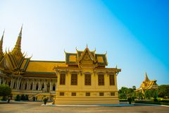 The Royal palace in  Phnom Penh, Cambodia. Beautiful religious Denmark in the capital of Cambodia.The Royal palace in  Phnom Penh Stock Photos
