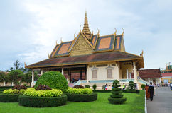 Royal palace in Phnom Penh, Cambodia. PHNOM PENH, CAMBODIA - OCT 22, 2016: The Royal Palace is a complex of buildings which serves as the royal residence of the Royalty Free Stock Photography