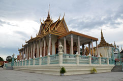 Royal palace in Phnom Penh, Cambodia. PHNOM PENH, CAMBODIA - OCT 22, 2016: The Royal Palace is a complex of buildings which serves as the royal residence of the Stock Photo