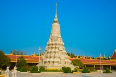 The Royal palace in  Phnom Penh, Cambodia, stupa. Beautiful religious Denmark in the capital of Cambodia.The Royal palace in  Phnom Penh Royalty Free Stock Photo