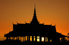 Royal Palace in Phnom Penh at dusk. Silhouette of the Royal Palace at dusk, Phnom Penh, Cambodia Royalty Free Stock Image