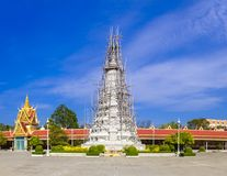 Royal palace in Phnom Penh. A stupa undergoing repairs at the Royal Palace complex in downtown Phnom Penh, Cambodia Royalty Free Stock Images