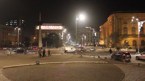 Royal Palace and revolution square in the night at Bucharest, Romania stock footage