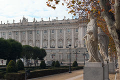 Royal Palace and sculptures of kings on Plaza de Oriente in Madrid, Spain Stock Images