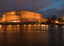 Royal Palace in Stockholm. Royal Palace in Stockholm at night royalty free stock photography