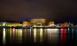 Royal palace in Stockholm at night Royalty Free Stock Images