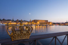 Royal palace Stockholm at twilight Royalty Free Stock Images