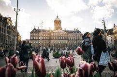 Royal Palace sulla diga quadra al tramonto a Amsterdam, Paesi Bassi Immagini Stock