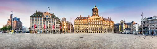 Royal Palace sulla diga quadra a Amsterdam, Paesi Bassi Immagini Stock Libere da Diritti