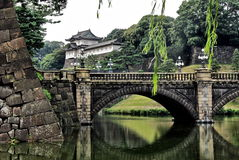 The royal palace in Tokyo. Seen strolling through the gardens, Kyoko Higashi Gyoen royalty free stock photos