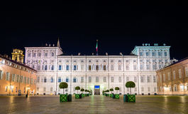 Royal Palace of Turin at night Stock Image