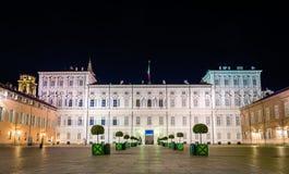 Royal Palace of Turin at night Stock Image