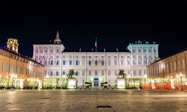 Royal Palace of Turin at night Royalty Free Stock Photos