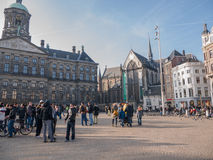 Royal Palace und neue Kirche in Amsterdam Stockfoto