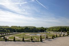 The Royal Palace of Versailles, historical monument and UNESCO World Heritage site. Versailles, France - May 15, 2019 : The Royal Palace of Versailles royalty free stock image