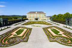 Royal palace in Vienna during sunny spring day prince garden vie Stock Photo