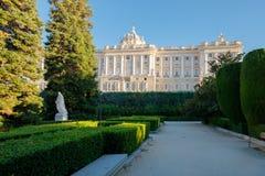 Royal Palace von Madrid und von seinen Gärten Lizenzfreies Stockbild