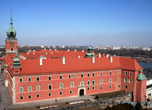 Royal Palace in Warsaw. View of the Old Town in Warsaw from the viewtower of St. Anne's church stock images