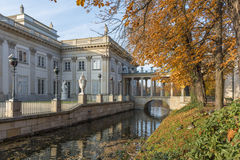 Royal Palace on the Water in Lazienki Park, Warsaw. In the autumn time stock images