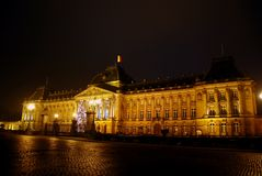 The royal Palais of Brussels at Christmas time. View of the royal Palais of Brussels Stock Photography
