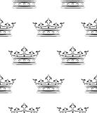 Royal pattern. Pattern seamless with crowns silhouette Royalty Free Stock Image