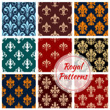 Royal patterns of stylized floral decor ornament. Royal patterns set of stylized floral decor ornaments. Seamless pattern of ornate decoration tiles of damask Royalty Free Stock Images