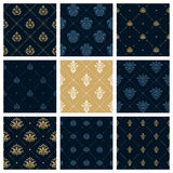 Royal patterns or victorian christmas background set Stock Images
