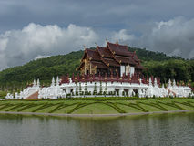 Royal Pavilion. Traditional Thai architecture in the Lanna style: Royal Pavilion (Ho Kum Luang) at Royal Flora international horticultural exposition, Chiang Mai Royalty Free Stock Images